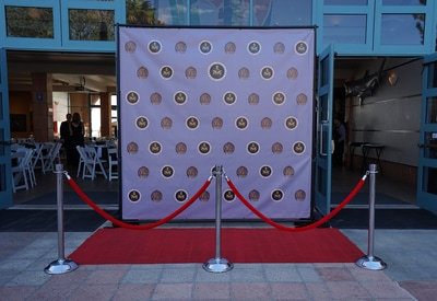 Step and Repeat backdrop stand rental San Diego. Custom Step and Repeat Backdrop Banner Design.