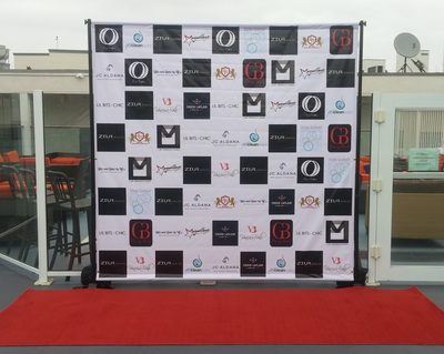 Step and Repeat backdrop stand rental San Diego. Banner Design.